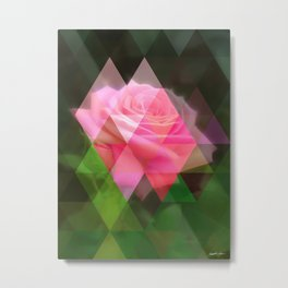 Pink Roses in Anzures 3 Art Triangles 1 Metal Print