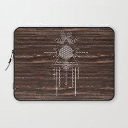 Triple Goddess - Flower of Life - Moon Phase - Shaman - Tribal - Sri Yantra - Brown Marble - Wood - Laptop Sleeve