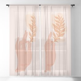 Abstraction_NAMASTE_LOVE_Minimalism_001 Sheer Curtain