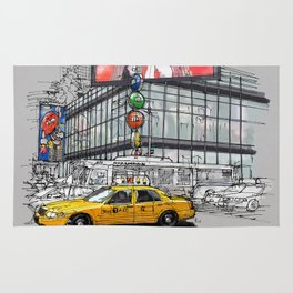 A corner in New York city and a yellow cab Rug
