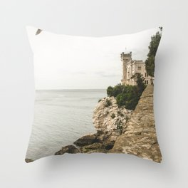 Flying on the castle Throw Pillow