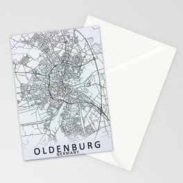 Oldenburg, Germany, White, City, Map Stationery Cards