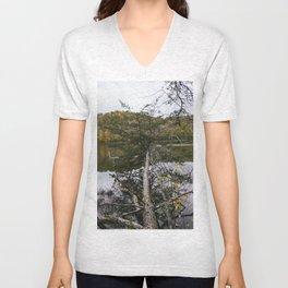 Lake Vesuvius fallen tree, Wayne National Forest, Oh, 2014 Unisex V-Neck