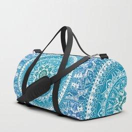 Aquamarine Mandala Pattern Duffle Bag
