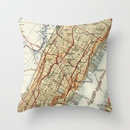 Weehawken, Union City & West New York Map (1935) Throw Pillow