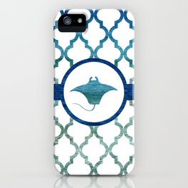 Manta Ray: Tropical Water Moroccan Pattern iPhone Case
