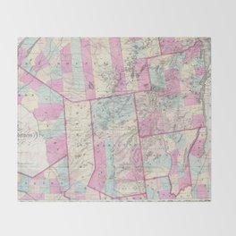 Vintage Map of The Adirondack Mountains (1867) Throw Blanket