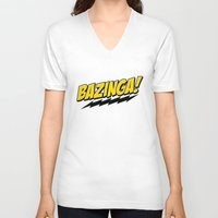 bazinga V-neck T-shirts featuring Bazinga! by WaXaVeJu