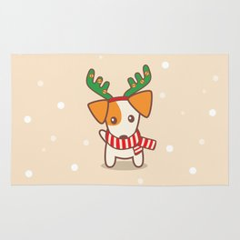 Jack Russell Terier with Reindeer Antlers on snowy background Illustration Rug
