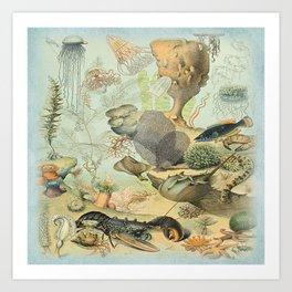 SEA CREATURES COLLAGE, OCEAN ILLUSTRATION Art Print