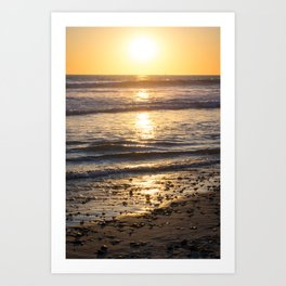 Glittery Sunset Waves Art Print