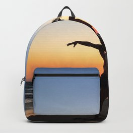 Vintage Surfer Girl | California Ocean Dancing on Huntington Beach Silhouette Orange Yellow Sky Backpack