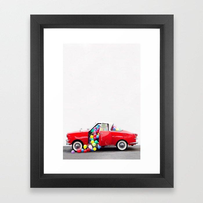 Balloon Car Open Door Framed Art Print by jeffmindell | Society6