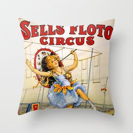 1900 Floto Dog & Pony Show and the Sells Brothers Circus High Wire Act Poster Throw Pillow