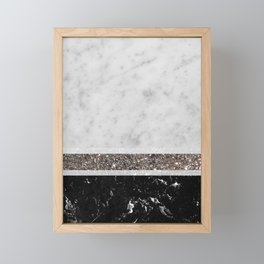 White and Black Marble Silver Glitter Stripe Glam #1 #minimal #decor #art #society6 Framed Mini Art Print