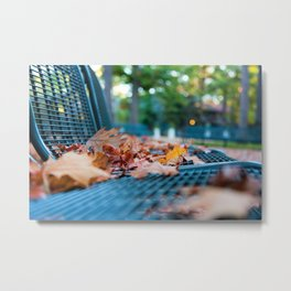 Bench with Autumn Leaves Metal Print