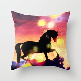 Sunset  Stallion Throw Pillow
