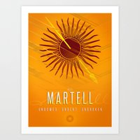 martell Art Prints featuring House Martell Sigil III (house words) by P3RF3KT