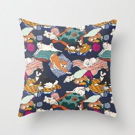 Lounging Shibas Throw Pillow