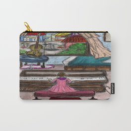 Little Girl Playing Piano on a Rainy Day Carry-All Pouch