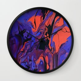 Blue, Teal and Orange Fantasy Wall Clock