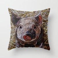 piglet Throw Pillows featuring Shiny doodle PIGLET by MehrFarbeimLeben