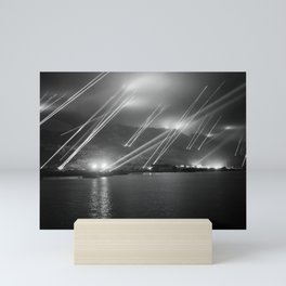 Searchlights In The Night Sky - The Rock Of Gibraltar - WW2 1942 Mini Art Print