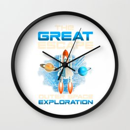 The Great Escape Outer Space Exploration Astronaut Wall Clock