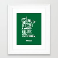 minnesota Framed Art Prints featuring Minnesota by Kelly Jane