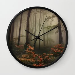 Autumn forest at dawn Wall Clock