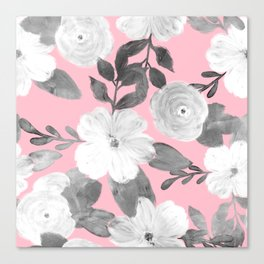 Black & White Hand Paint Floral Girly Pink Design Canvas Print