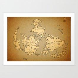Gaia Midgar Final Fantasy VII Map Art Print