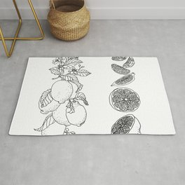 Citrus Branch of Lemons and Slices of Fruit Rug