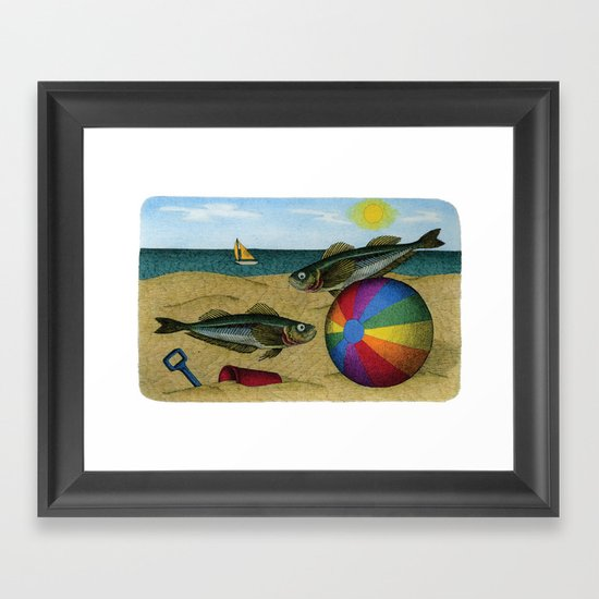 A day at the beach Framed Art Print
