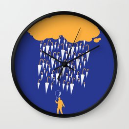 raining umbrellas Wall Clock