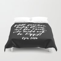 oscar wilde Duvet Covers featuring Oscar Wilde Quote by hopealittle