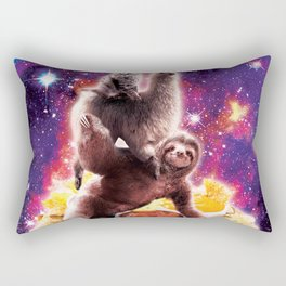 Space Cat Llama Sloth Riding Nachos Rectangular Pillow