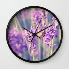 Lavender Flower Field Wall Clock