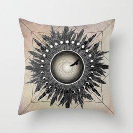 Crow Twilight Dreamcatcher Throw Pillow
