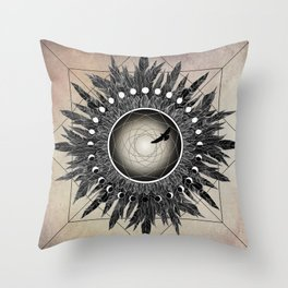 Crow Twilight Dreamcatcher Throw Pillow