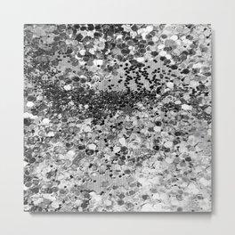 Sparkly Silver Glitter Confetti Metal Print