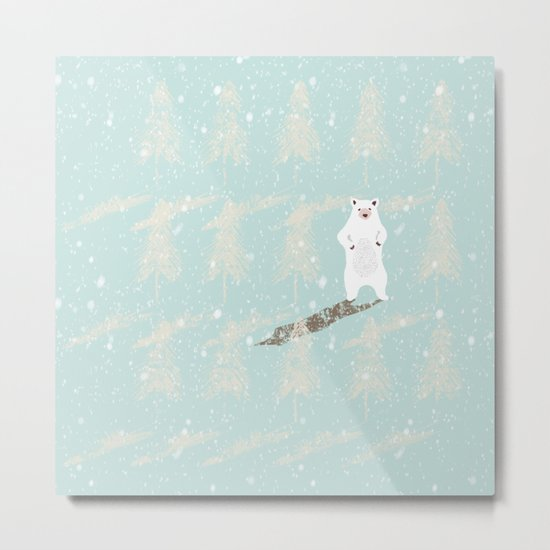 Polar bear in snowy white winter forest -Illustration Metal Print