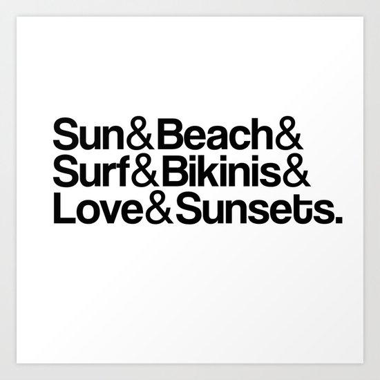 Sun, surf, bikinis Art Print