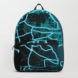 Kingston upon Hull, England, Blue, White, Neon, Glow, City, Map Backpack