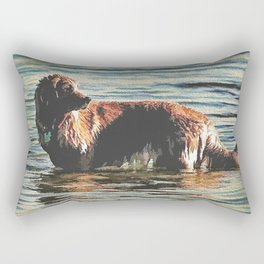 Dog Having Fun In The Water  Rectangular Pillow