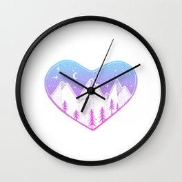 Heart In The Mountains - Pastel Palette Wall Clock