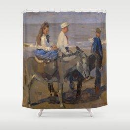 Boy and Girl Riding Donkeys - Isaac Israëls Shower Curtain