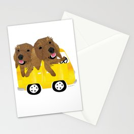 Dogs in a Bus on Vacation Stationery Cards