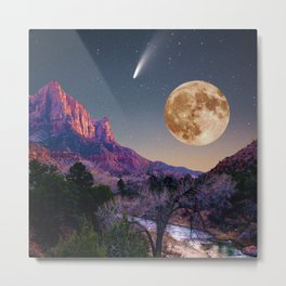 zion national park full moon and comet Metal Print