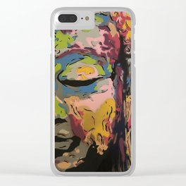 Colorful Buddha unique stencil art painting Clear iPhone Case